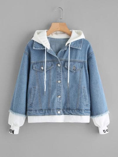2 In 1 Ribbed Knit Trim Hooded Denim Jacket - The Foxtrot Clothing