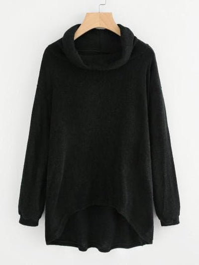 High Neck Dip Hem Knit Sweater - The Foxtrot Clothing