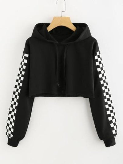 Contrast Checked Sleeve Crop Hoodie - The Foxtrot Clothing