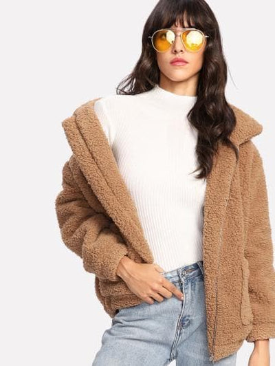 Dual Pocket Faux Fur Teddy Jacket - The Foxtrot Clothing