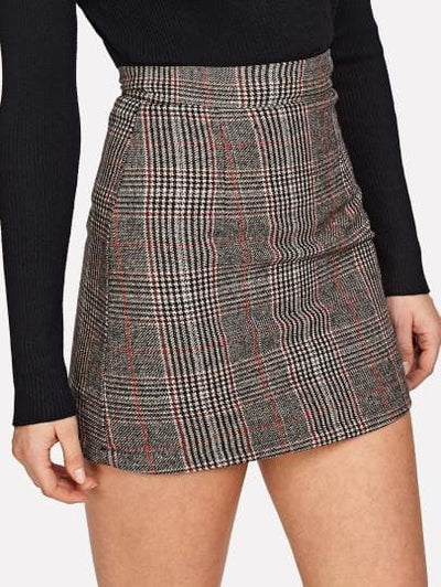 Wales Check Zip Back Skirt - The Foxtrot Clothing