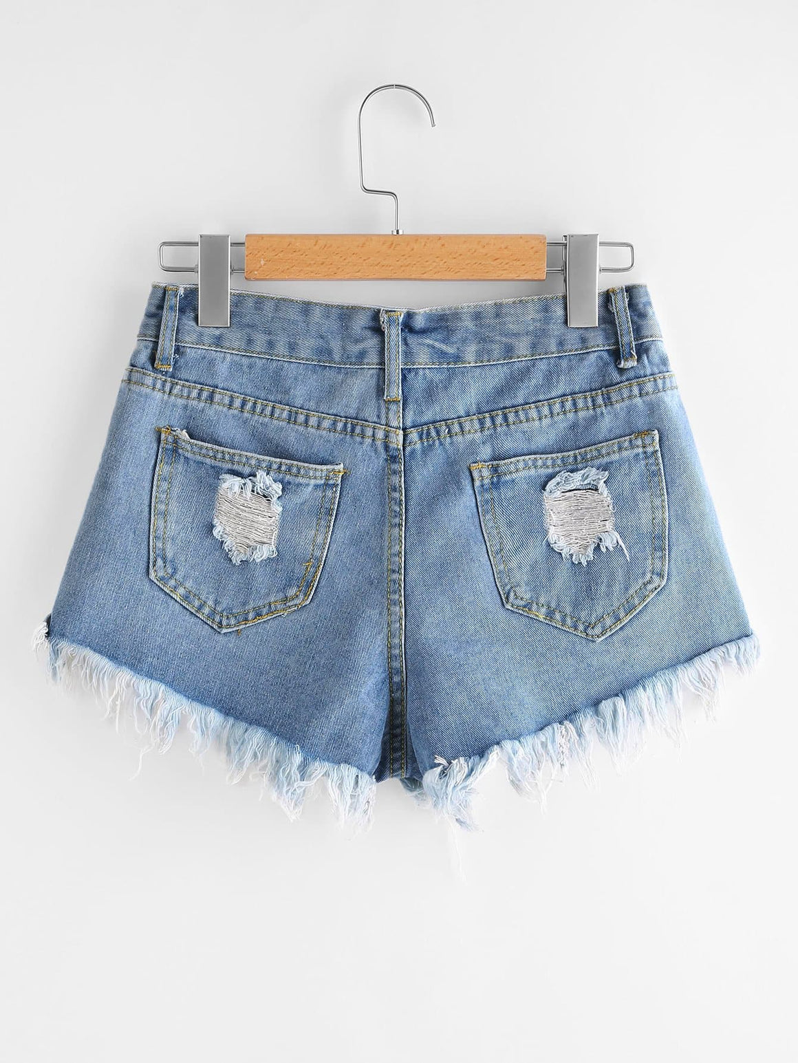 Destroyed Frayed Hem Denim Shorts