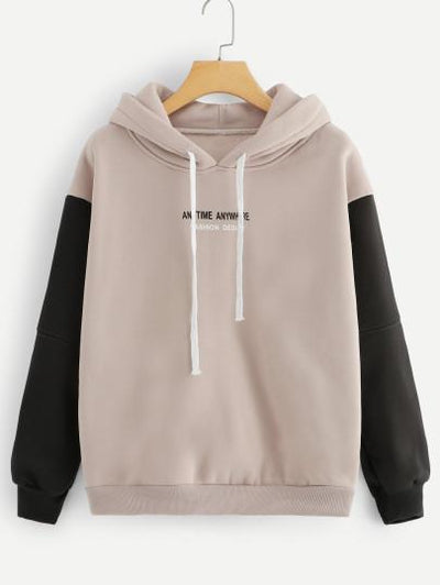 Contrast Sleeve Slogan Print Hoodie - The Foxtrot Clothing
