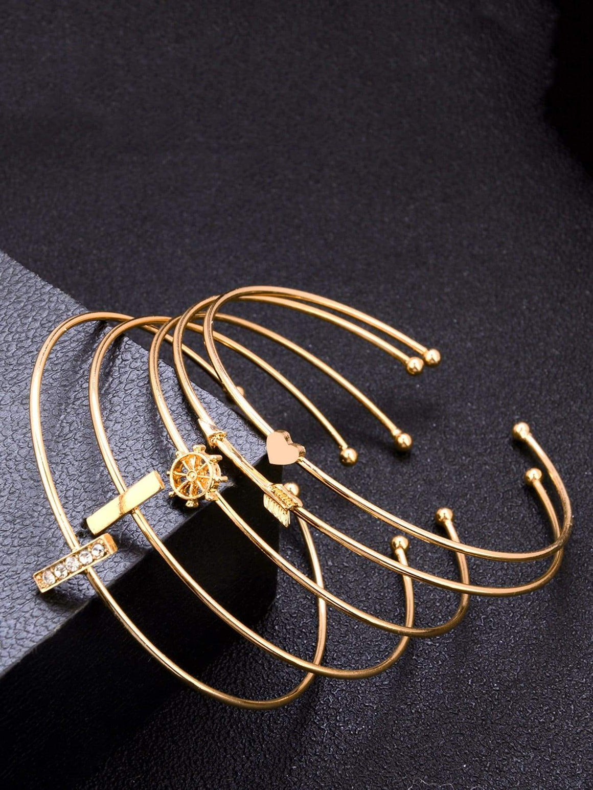 Bar & Arrow Cuff Bracelet Set 5pcs