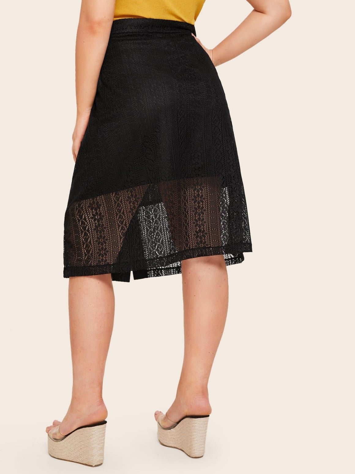 Plus Contrast Lace Button Front Skirt