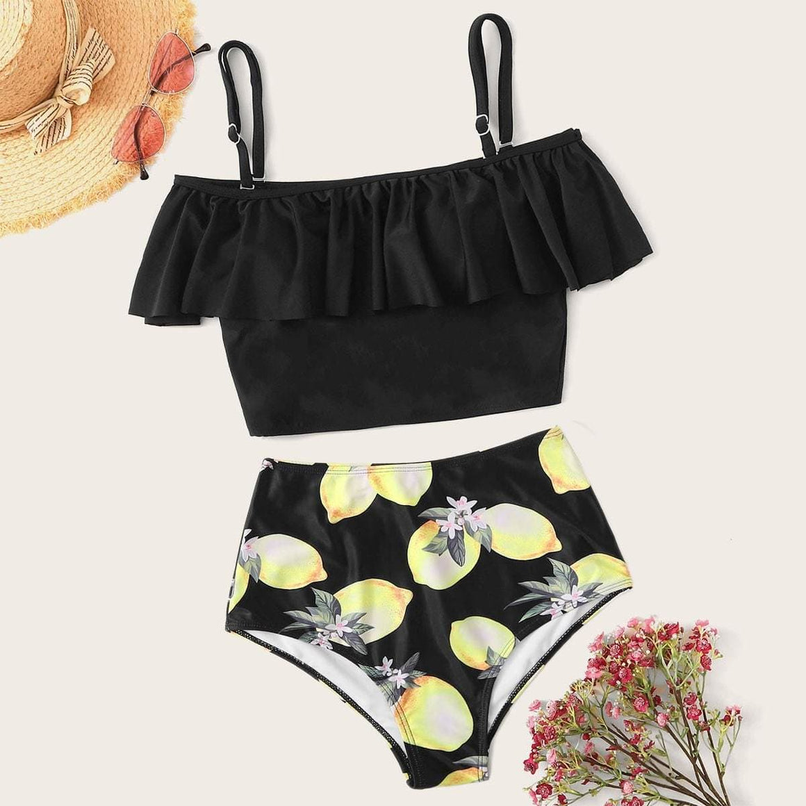 Flounce Top With Lemon Print Tankini Set