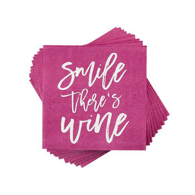 Smile There's Wine Napkin by Cakewalk - The Foxtrot Clothing