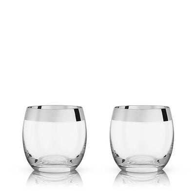 Chrome Rim Crystal Tumblers by Viski® - The Foxtrot Clothing