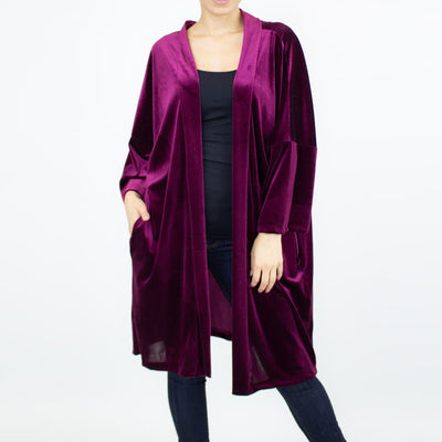 Velvet Kimono Cardigan - Wine - The Foxtrot Clothing