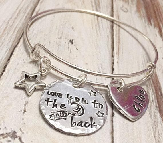 I love you to the moon and back bracelet -