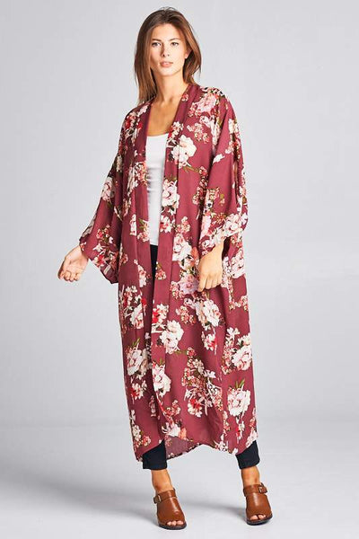 LONG FLORAL PRINTED KIMONO - The Foxtrot Clothing