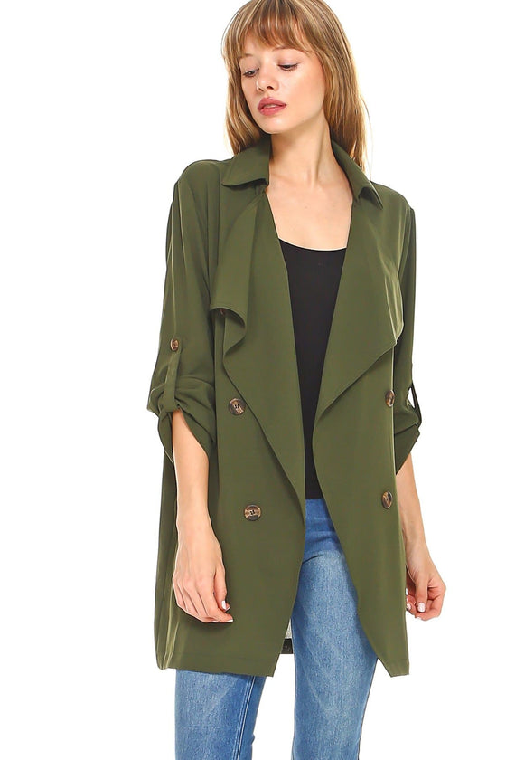 Solid Trench Coat - The Foxtrot Clothing