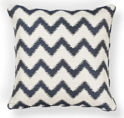 "18"" x 18"" Polyester Ivory/Navy Pillow - The Foxtrot Clothing"