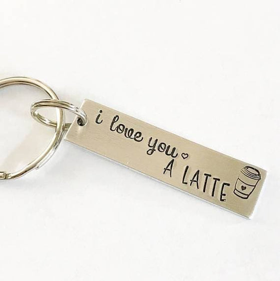 I love you a latte - Hand stamped keychain - The Foxtrot Clothing