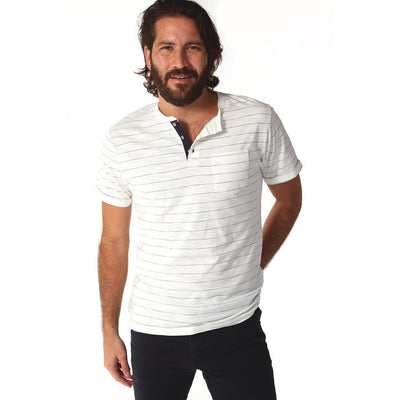 Wade Pinstripe Henley- The Foxtrot Clothing - The Foxtrot Clothing
