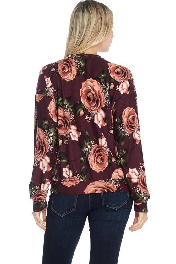French Terry Floral Print Sweatshirt - The Foxtrot Clothing