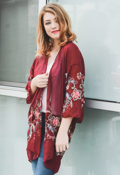 Beautiful Long Burgundy Floral Kimono - The Foxtrot Clothing
