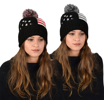 American Flag Pom Pom Hats Beanie Skullies Value - The Foxtrot Clothing