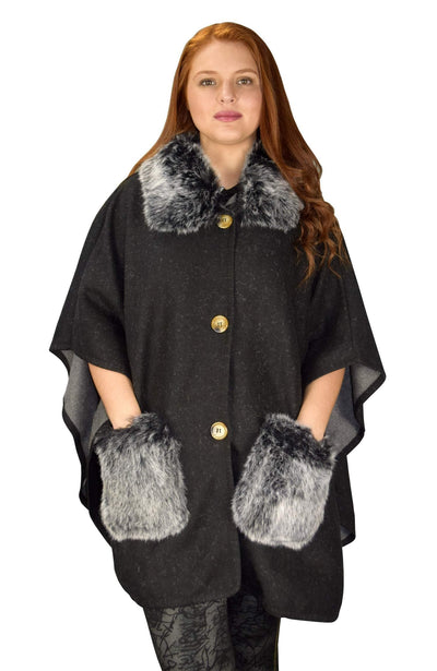 Faux Fur Poncho Large Pockets Sweater Relaxed Fit - The Foxtrot Clothing