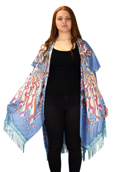 Womens Vintage Kimono Robe Lightweight Cardigan - The Foxtrot Clothing