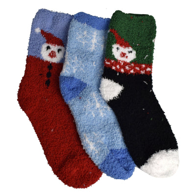 Classic Fuzzy Socks Christmas Holiday Packs of 3 - The Foxtrot Clothing