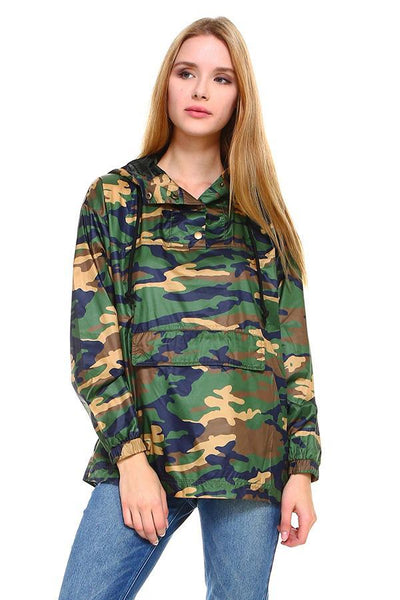 Camouflage Hooded Windbreaker - The Foxtrot Clothing