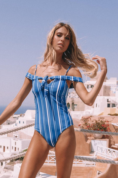 Santorini Off-Shoulder Swimsuit - Navy Stripes-The Foxtrot Clothing - The Foxtrot Clothing