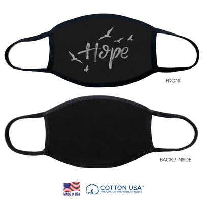 100% COTTON MADE IN THE USA HOPE WITH BIRD BLACK FABRIC FACE MASK - The Foxtrot Clothing
