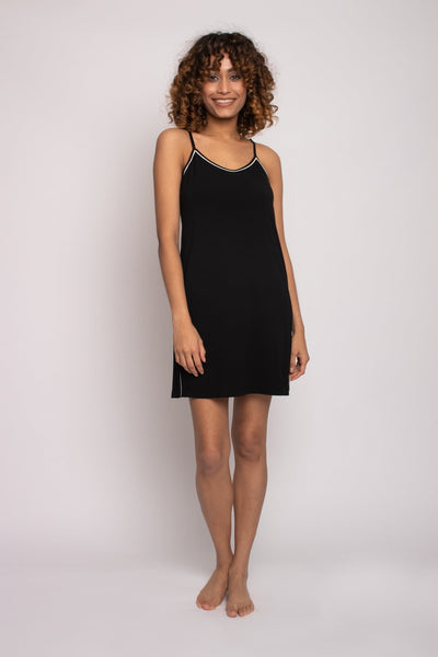 Bamboo Chemise Nightdress in Black- The Foxtrot Clothing - The Foxtrot Clothing
