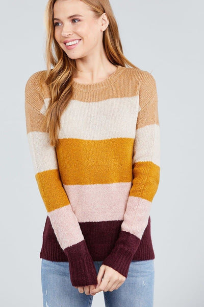 Mustard Blend Color Block Sweater - The Foxtrot Clothing
