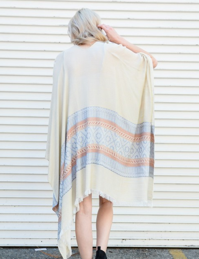 Camel & Ivory Woven Moroccan Frayed Edge Kimono - The Foxtrot Clothing
