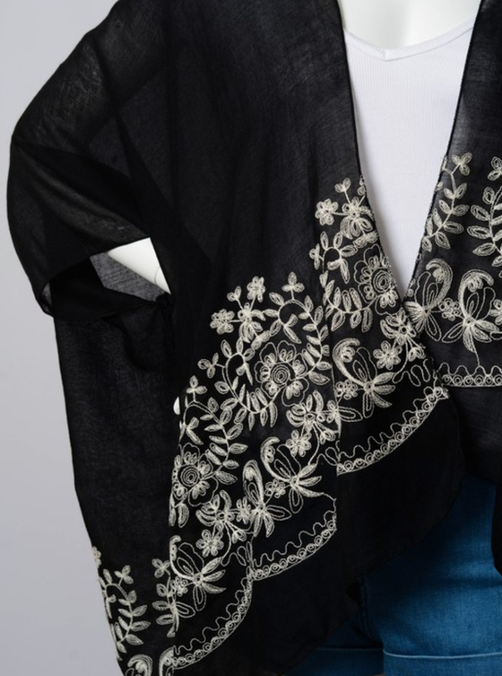 Floral Embroidered Stitch Kimono - Comes in 2 - The Foxtrot Clothing