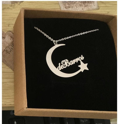 Custom Moon Star Name Charm Necklaces Personalized-The Foxtrot Clothin - The Foxtrot Clothing