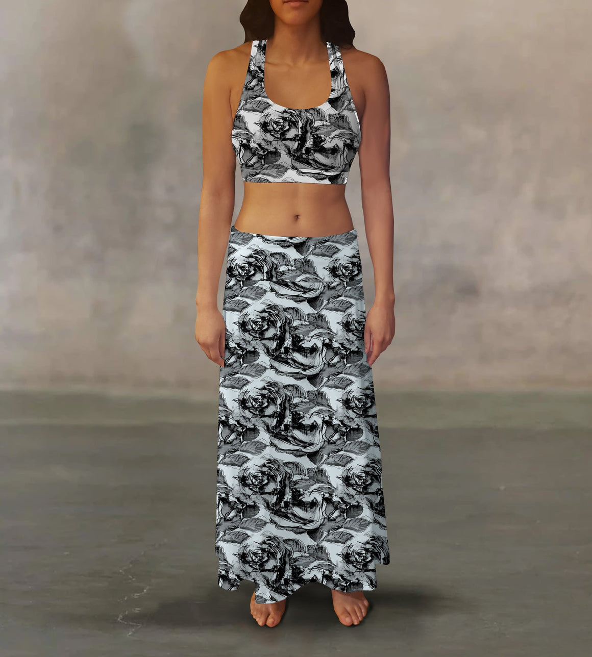 Drawn Roses Maxi Skirt