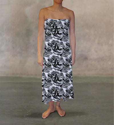 Drawn Roses Maxi Skirt - The Foxtrot Clothing
