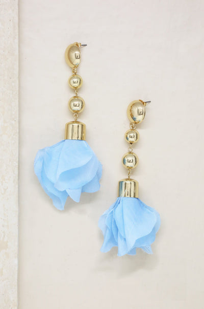 Flower Petal Drop Earrings in Blue and Gold - The Foxtrot Clothing