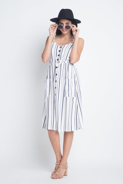 Women's Striped Button Midi Sleeveless Dress- The Foxtrot Clothing - The Foxtrot Clothing
