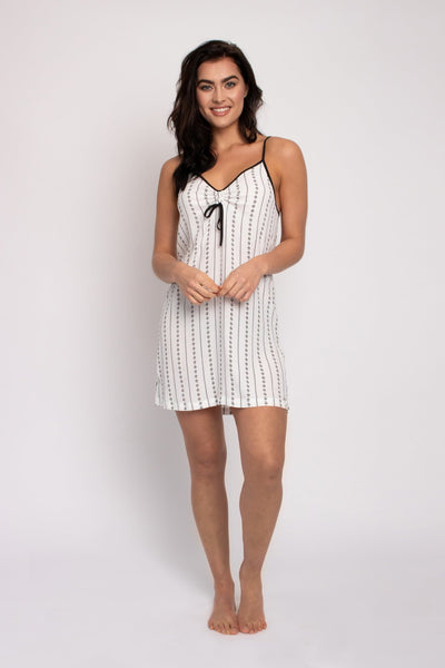 EcoVero Chemise Nightdress in Ecru Stripe- The Foxtrot Clothing - The Foxtrot Clothing