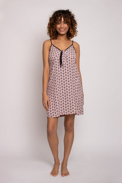 EcoVero Chemise Nightdress in Pink- The Foxtrot Clothing - The Foxtrot Clothing