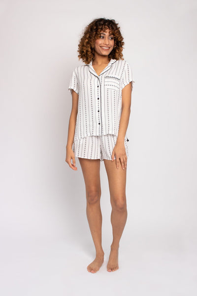 EcoVero Shirt Short Pajama Set in Ecru Stripe- The Foxtrot Clothing - The Foxtrot Clothing
