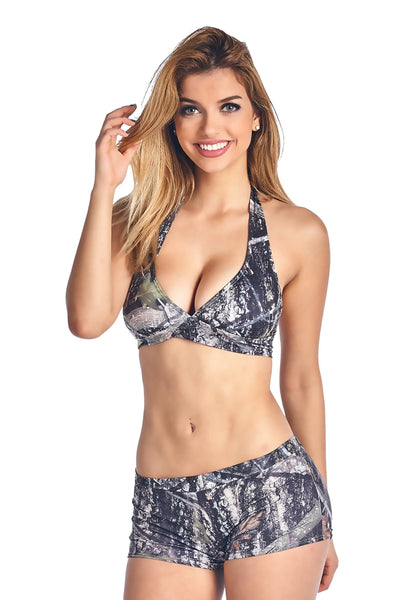 Women's Green True Timber Halter Top & Hot Shorts Swimwear-The Foxtrot - The Foxtrot Clothing