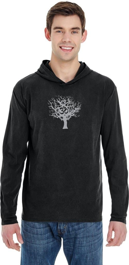GREY TREE OF LIFE HEAVYWEIGHT PIGMENT HOODIE YOGA