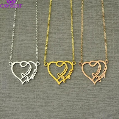 Handmade Jewelry Personalized Double Name Heart - The Foxtrot Clothing