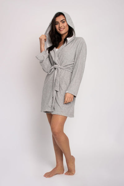 Organic Cotton Robe in Grey- The Foxtrot Clothing - The Foxtrot Clothing