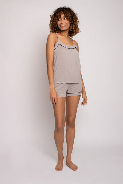 Bamboo Cami Short Pajama Set in Mink - The Foxtrot Clothing