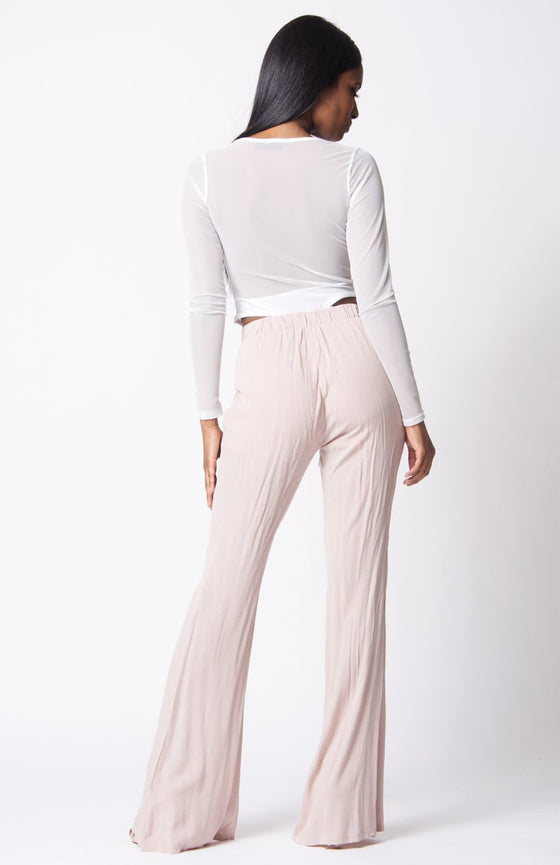 ELASTIC WAIST WIDE LEGS PANTS - The Foxtrot Clothing