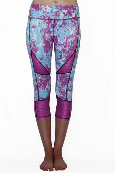 Purple and Blue Marble Moto - Pocket Capri - The Foxtrot Clothing
