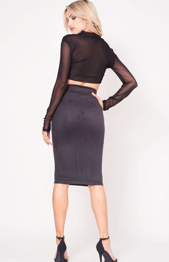HIGH WAIST SUEDE SKIRT - The Foxtrot Clothing