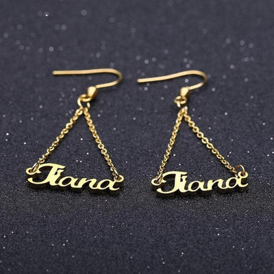 Stainless Steel Custom Name Drop Earrings- The Foxtrot Clothing - The Foxtrot Clothing