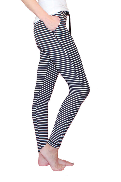 Black and White Stripe Joggers - The Foxtrot Clothing
